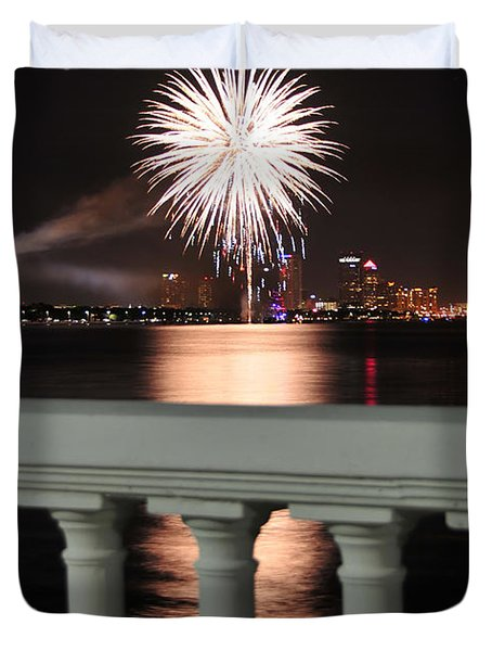 Tampa Bay Fireworks Duvet Cover by David Lee Thompson