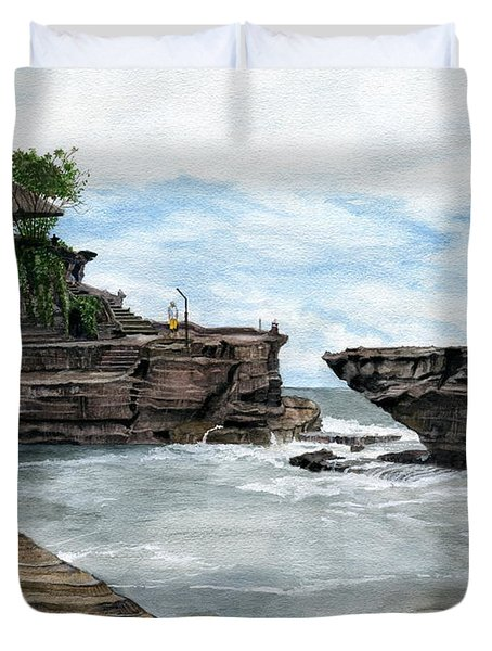 Duvet Cover featuring the painting Tanah Lot Temple II Bali Indonesia by Melly Terpening