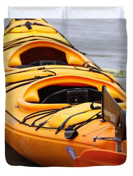 Tandem Yellow Kayak Duvet Cover