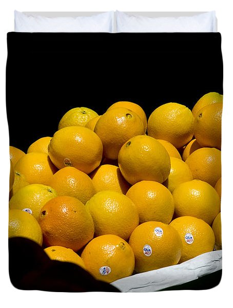 Tangerines For Sale Duvet Cover by Tim Mulina