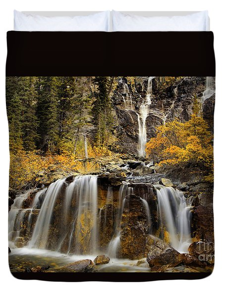 Tangle Falls, Jasper National Park Duvet Cover