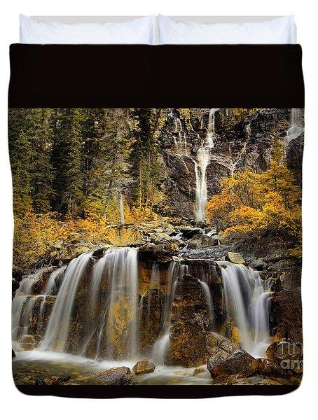 Tangle Falls, Jasper National Park Duvet Cover