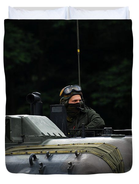 Tank Commander Of A Leopard 1a5 Mbt Duvet Cover by Luc De Jaeger