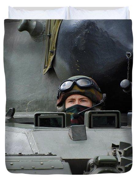 Tank Driver Of A Leopard 1a5 Mbt Duvet Cover by Luc De Jaeger