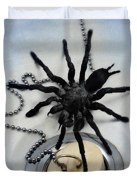 Tarantula In Bathtub Duvet Cover by Jill Battaglia