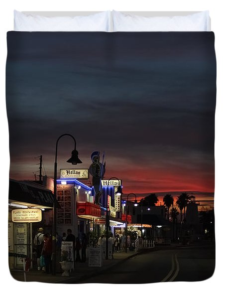 Duvet Cover featuring the photograph Tarpon Springs After Sundown by Ed Gleichman