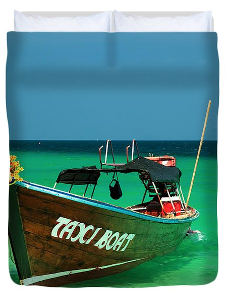 Taxi Boat Duvet Cover by Adrian Evans