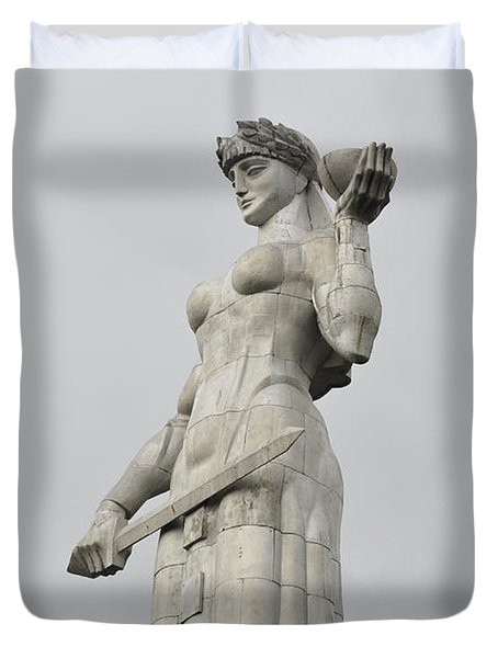 Tbilisi Mother Of Georgia Statue Duvet Cover by Amos Gal