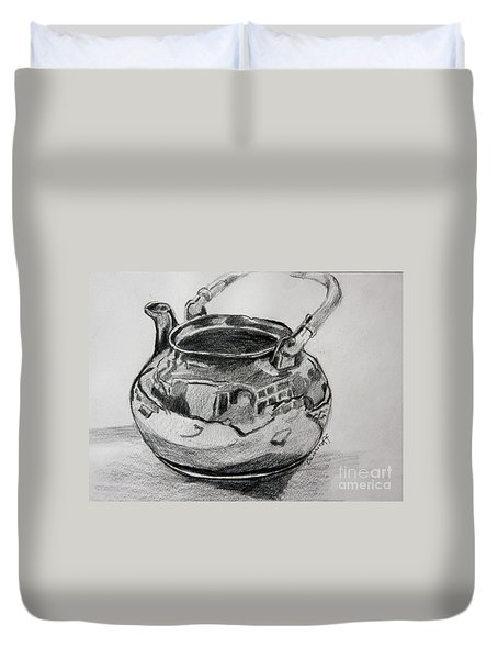 Teapot Reflections Duvet Cover by Jan Bennicoff