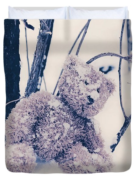 Teddy In Snow Duvet Cover by Joana Kruse
