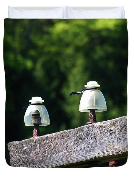 Duvet Cover featuring the photograph Telephone Pole And Insulators by Sherman Perry