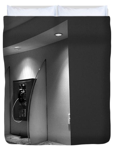 Duvet Cover featuring the photograph Telephones On Wall by Nina Prommer
