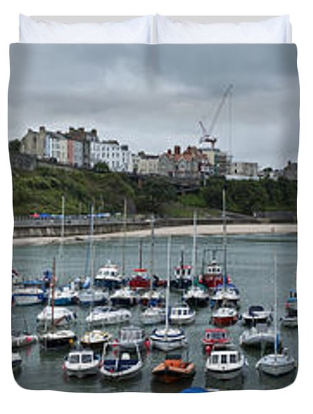 Duvet Cover featuring the photograph Tenby Harbour Panorama by Steve Purnell