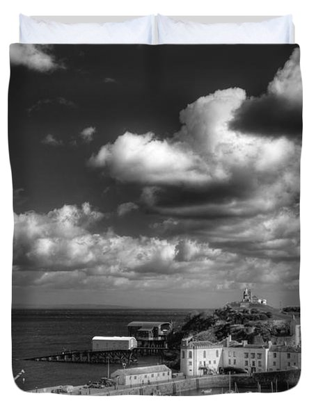 Duvet Cover featuring the photograph Tenby Harbour by Steve Purnell