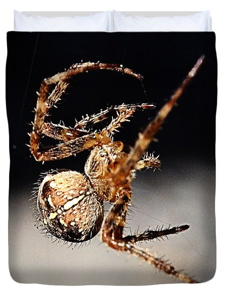 Duvet Cover featuring the photograph Tending The Web Invisible by Chriss Pagani