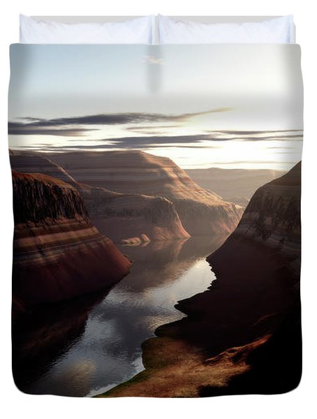 Terragen Render Of Trail Canyon Duvet Cover by Rhys Taylor