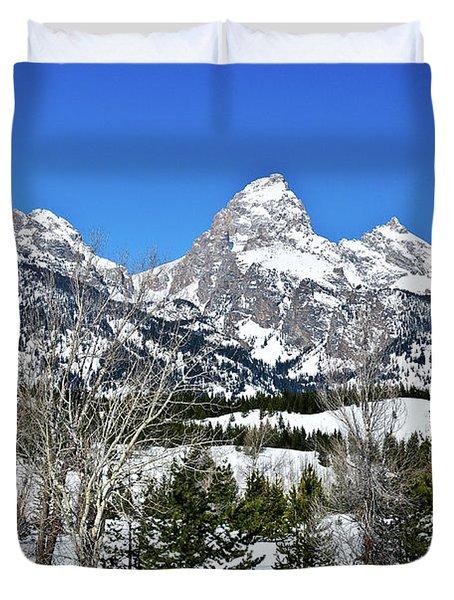 Teton Winter Landscape Duvet Cover