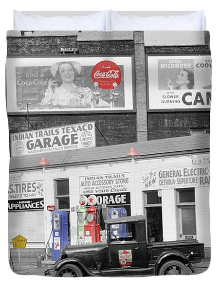 Texaco Station Duvet Cover by Andrew Fare