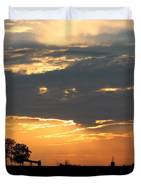 Duvet Cover featuring the photograph Texas Sized Sunset by Kathy  White