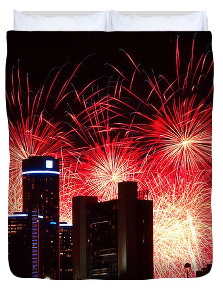 Duvet Cover featuring the photograph The 54th Annual Target Fireworks In Detroit Michigan - Version 2 by Gordon Dean II