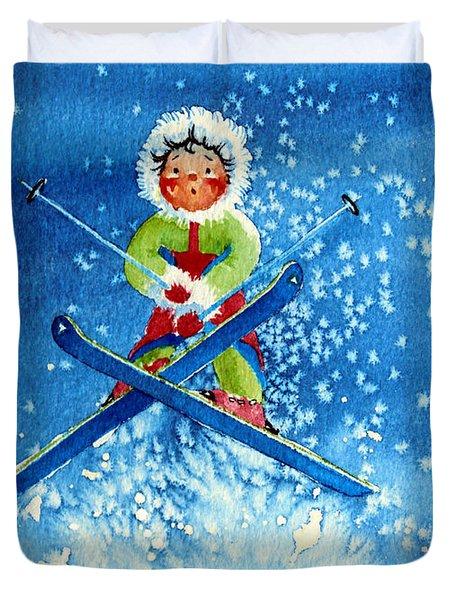 The Aerial Skier - 11 Duvet Cover by Hanne Lore Koehler