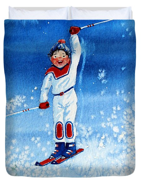 The Aerial Skier 15 Duvet Cover by Hanne Lore Koehler
