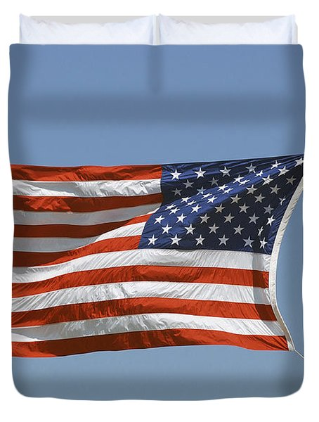 The American Flag Waves At Half-mast Duvet Cover by Stocktrek Images