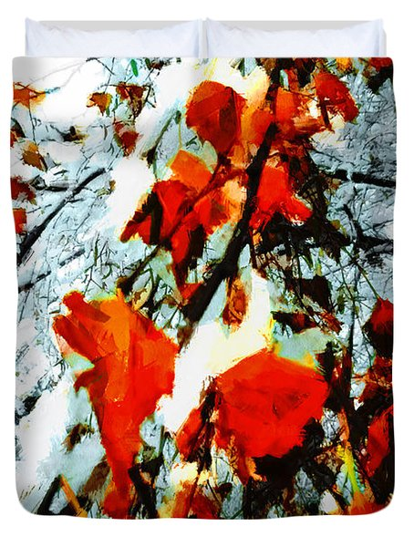 Duvet Cover featuring the photograph The Autumn Leaves And Winter Snow by Steve Taylor