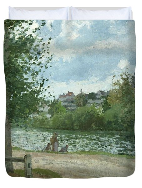 The Banks Of The Oise At Pontoise Duvet Cover by Camille Pissarro