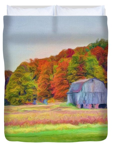 The Barn In Autumn Duvet Cover by Michael Garyet
