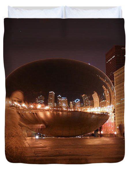 The Bean On A Winter Night Duvet Cover