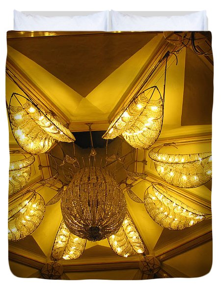 The Beautifully Lit Chandelier On The Ceiling Of The Iskcon Temple In Delhi Duvet Cover by Ashish Agarwal