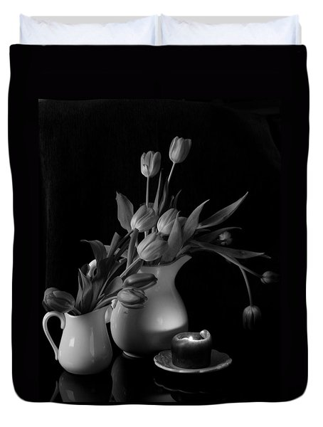 The Beauty Of Tulips In Black And White Duvet Cover