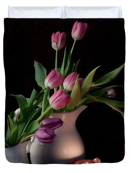 The Beauty Of Tulips Duvet Cover by Sherry Hallemeier