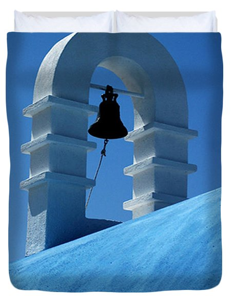 The Bell Tower In Mykonos Duvet Cover by Vivian Christopher