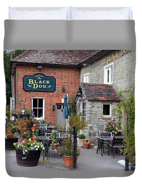 The Black Dog Pub Duvet Cover by Carla Parris