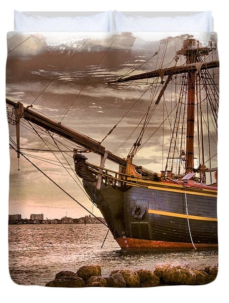 The Bow Of The Hms Bounty Duvet Cover by Debra and Dave Vanderlaan