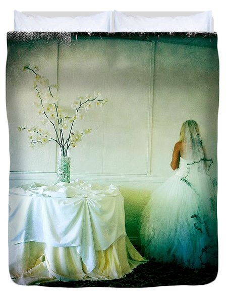 Duvet Cover featuring the photograph The Bride Takes A Moment by Nina Prommer
