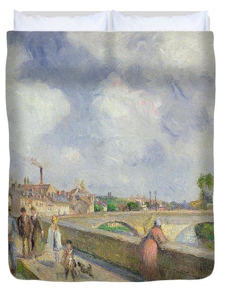 The Bridge At Pontoise Duvet Cover by Camille Pissarro