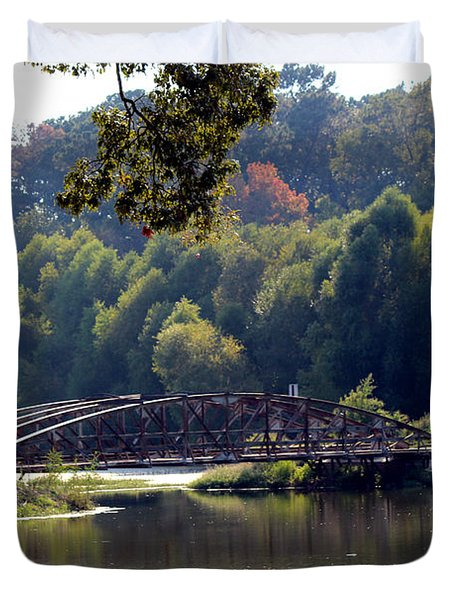 Duvet Cover featuring the photograph The Bridge by Kathy  White