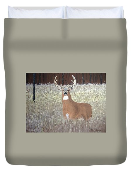 Duvet Cover featuring the painting The Buck Stops Here by Norm Starks