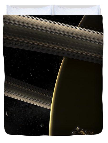 The Cassini Spacecraft In Orbit Duvet Cover by Steven Hobbs