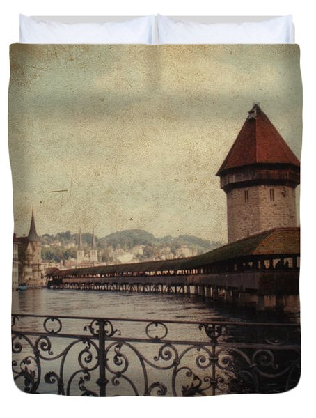 The Chapel Bridge In Lucerne Switzerland Duvet Cover by Susanne Van Hulst