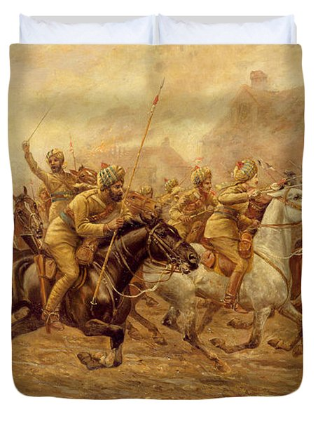 The Charge Of The Bengal Lancers At Neuve Chapelle Duvet Cover by Derville Rowlandson