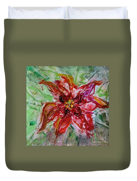 Duvet Cover featuring the painting The Christmas Poinsettia by Dragica  Micki Fortuna