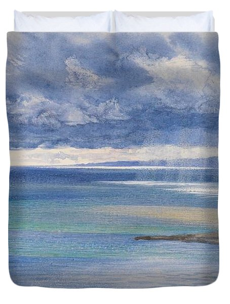 The Coast Of Sicily From The Taormina Cliffs Duvet Cover by John Brett