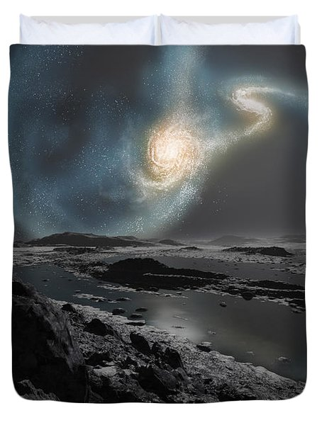 The Collision Of The Milky Way Duvet Cover