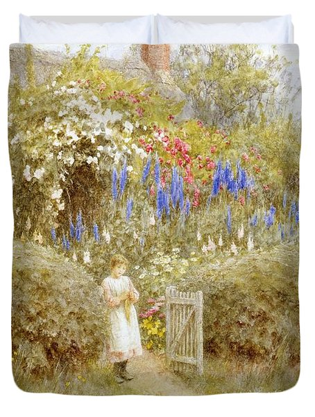 The Cottage Gate Duvet Cover by Helen Allingham