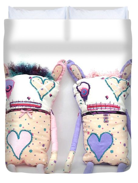 The Cutie Patootie Zombie Bunny Twins Duvet Cover by Oddball Art Co by Lizzy Love