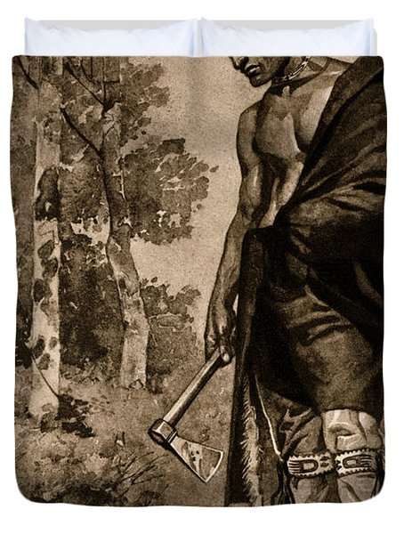 The Death Of Pontiac, 1769 Duvet Cover by Photo Researchers